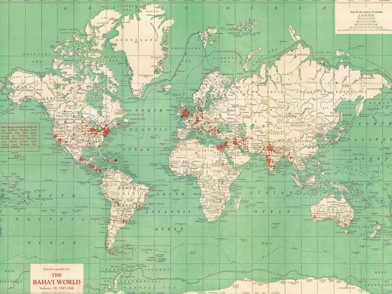 Localities where Bahá\'ís live (world, 1940)