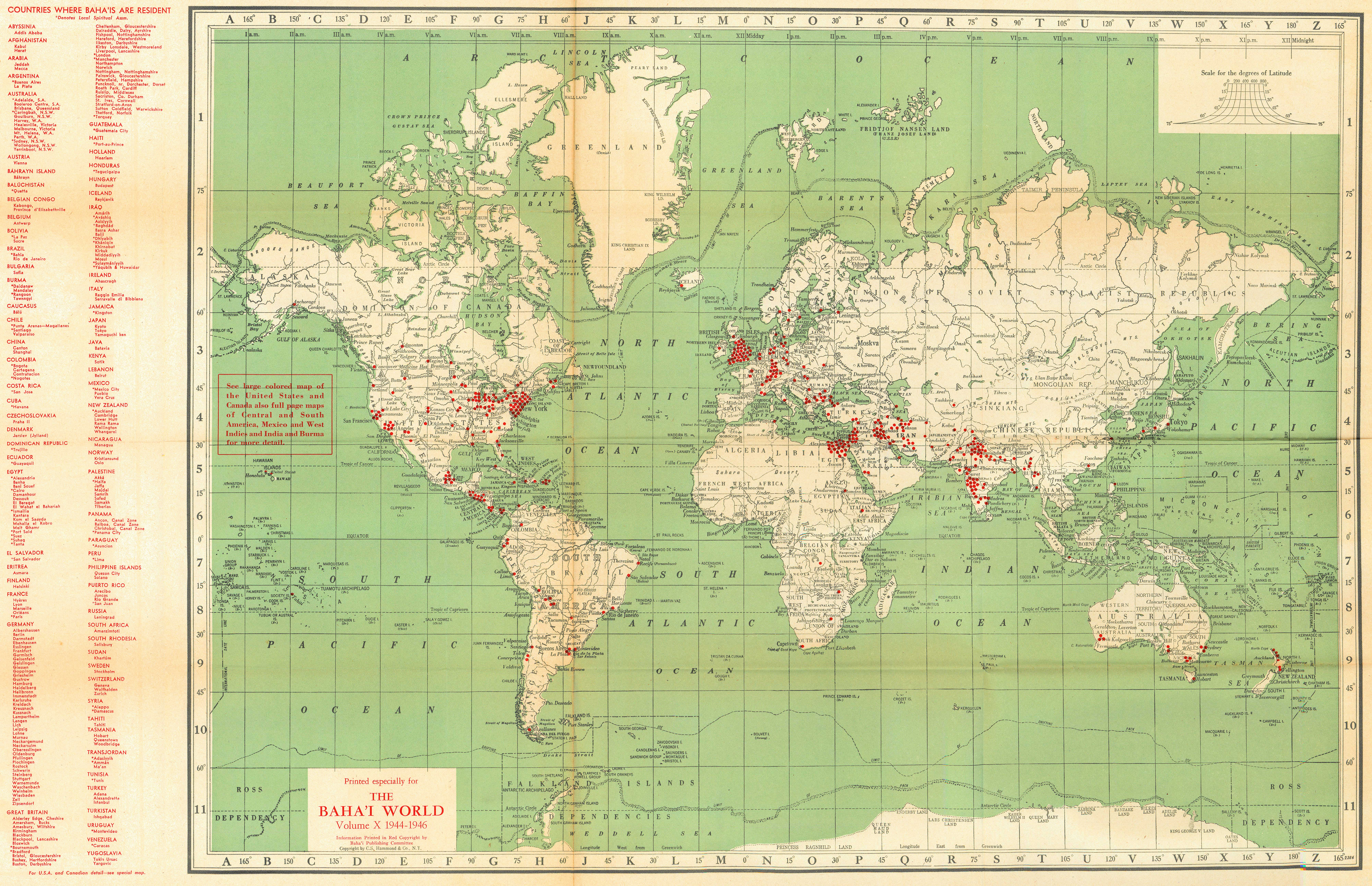 Localities where Bah 39 s live world 1944