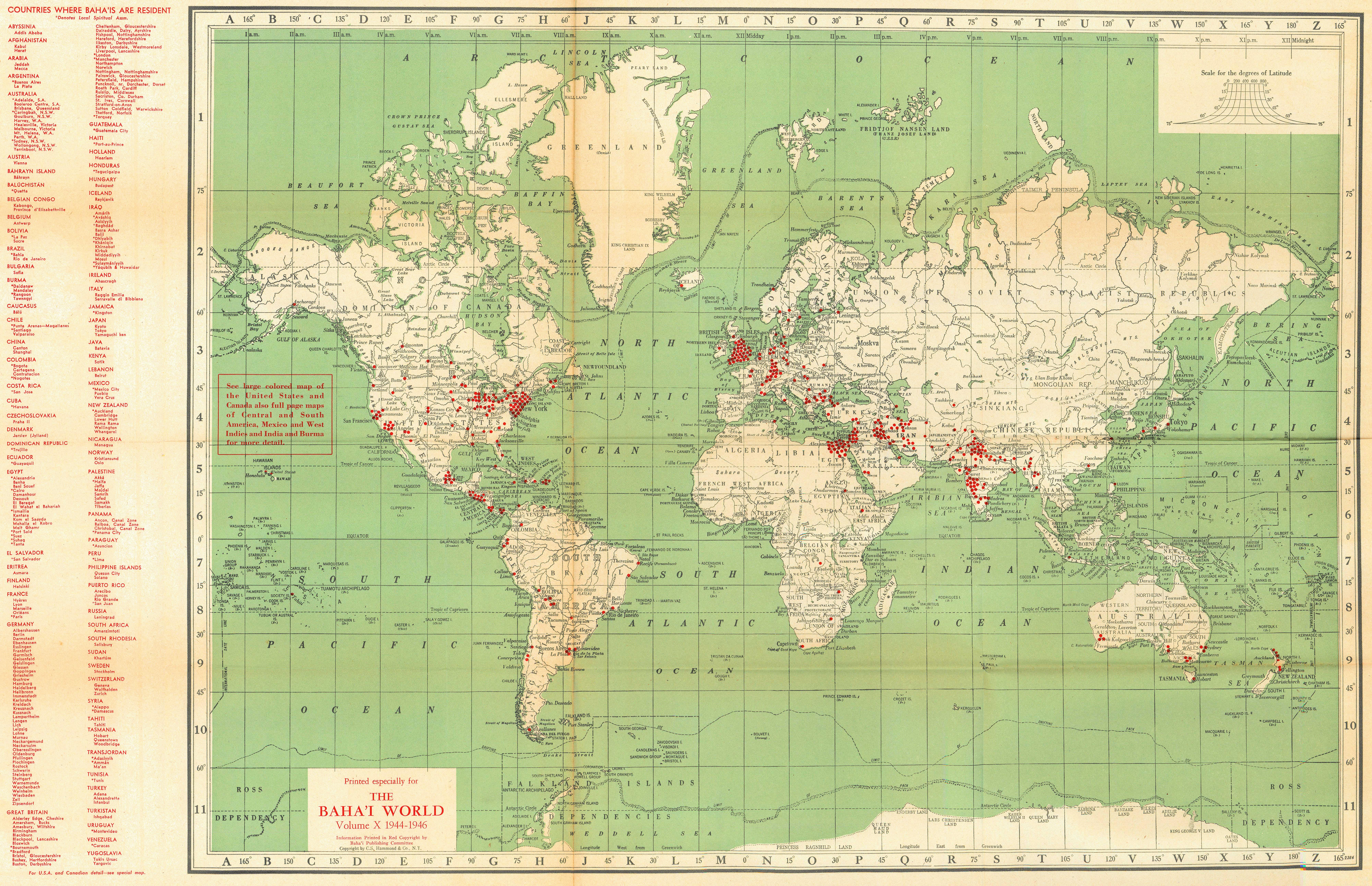 Localities where Bah 39 s live world 1944