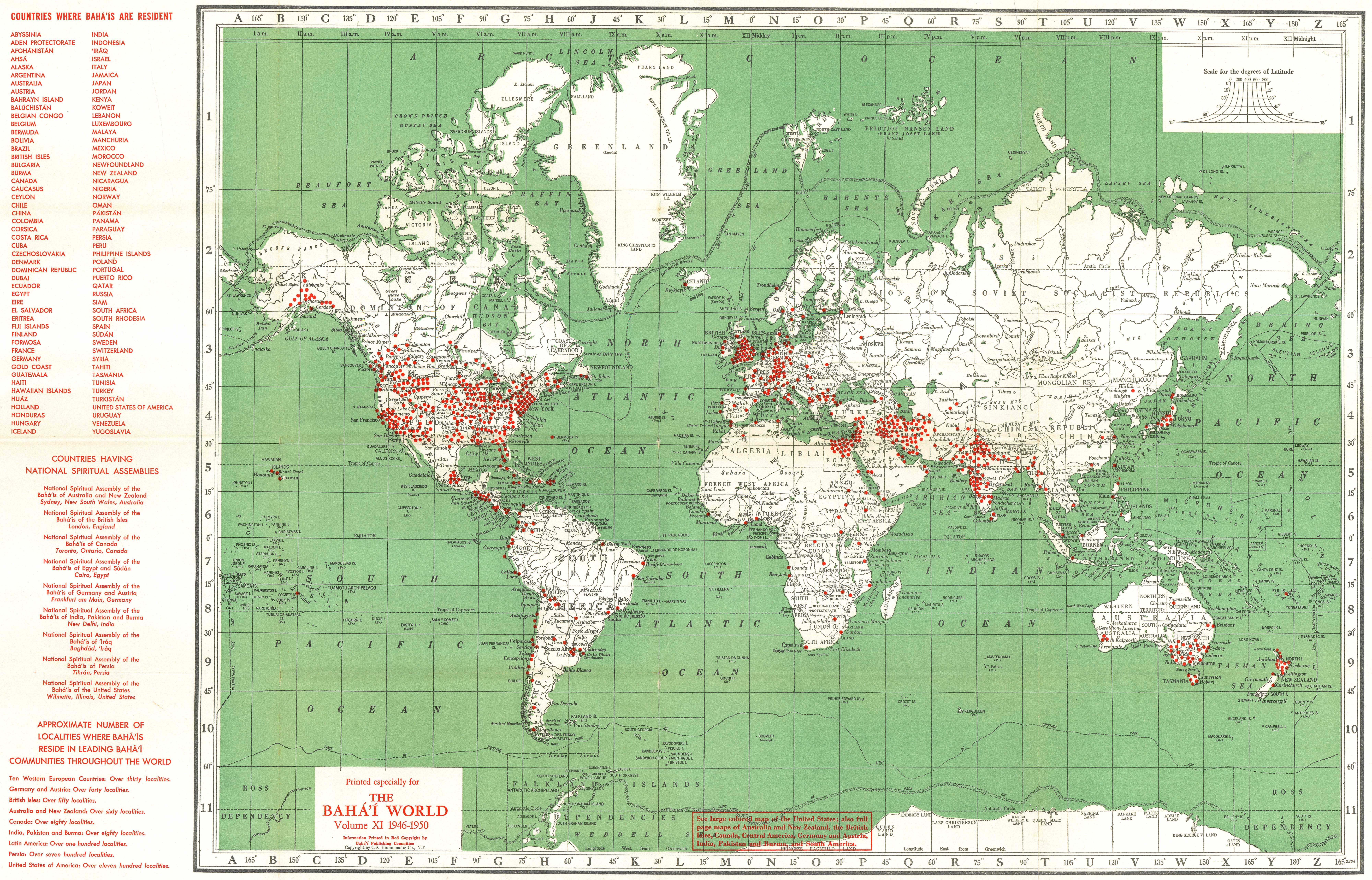Localities where Bah 39 s live world 1946