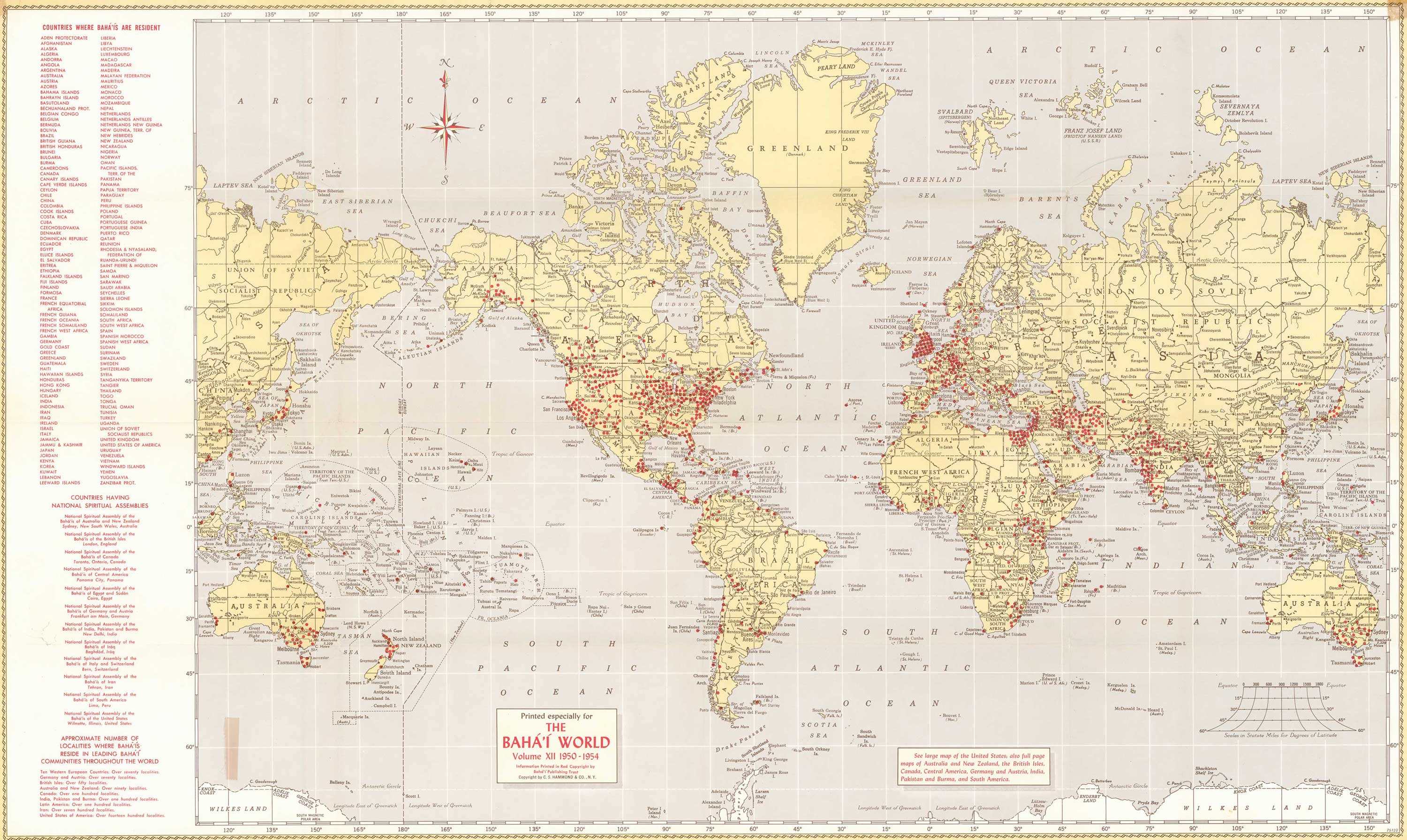 Localities Where Baháís Live World - Detailed map of world
