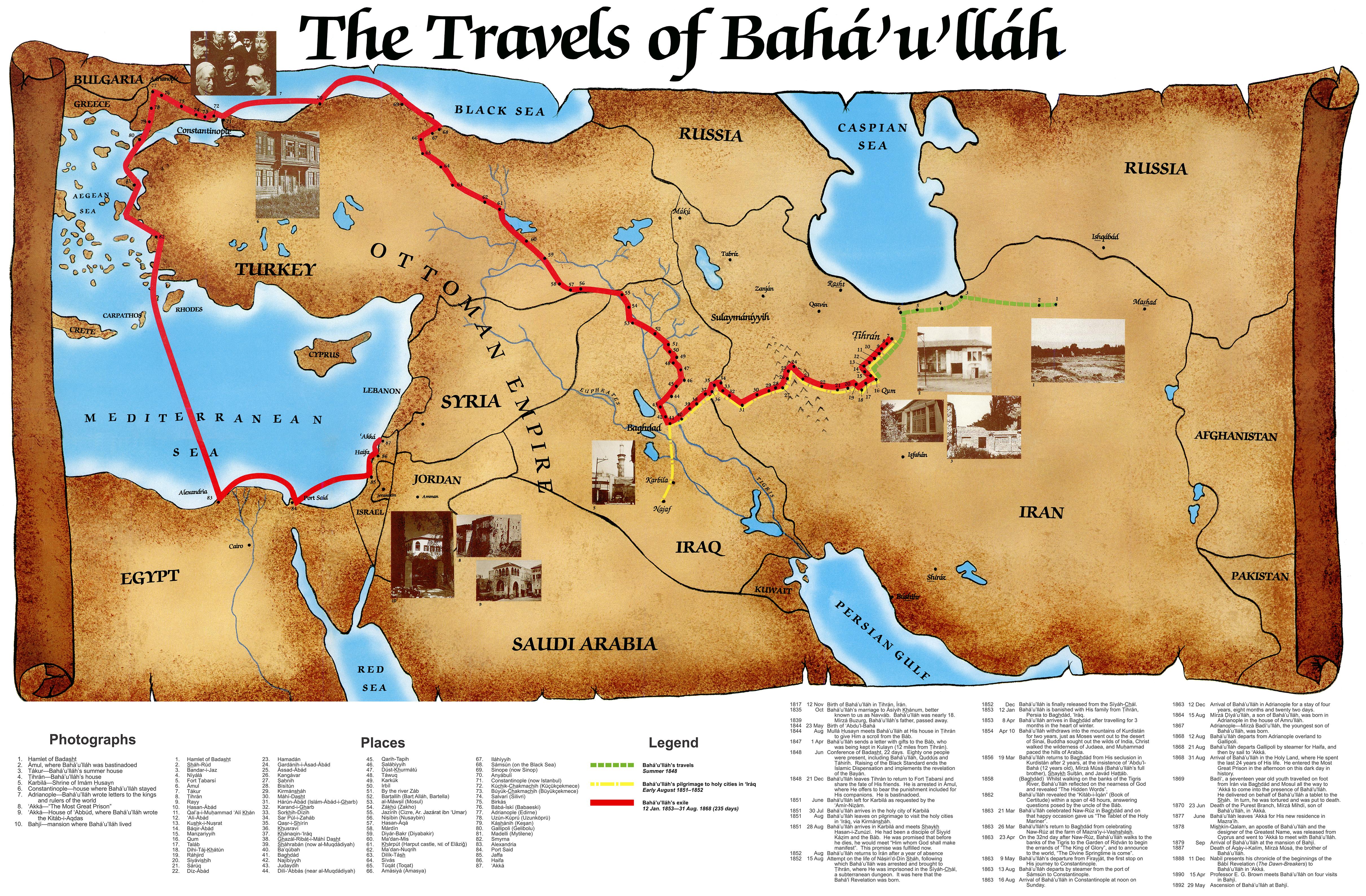 Map Of The Travels Of Baha U Llah